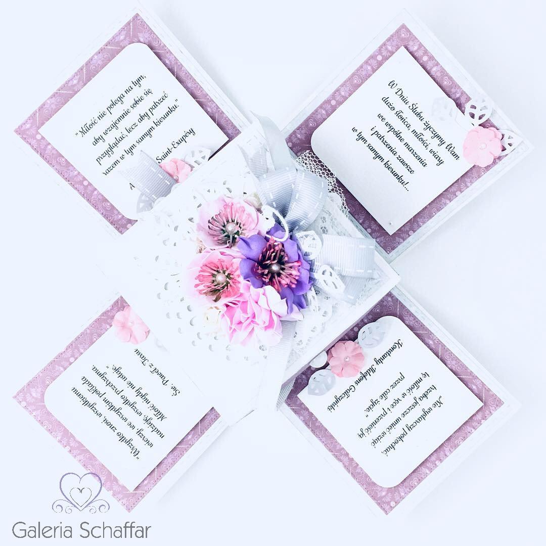Dodatkowe Pudełko ślubne eksplodujące z cytatami o miłości i życzeniami #2 UZ77